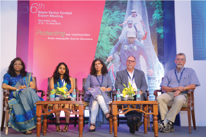 Dr Bangs as part of the session summary on 'Advocacy' at the 2019 Bayer Vector Control Expert Meeting held in Delhi, India. (L-R): Dr Roop Kumari (World Health Organisation, India), Rittika Dita (Asia Pacific Leaders Malaria Alliance), Dr Kayla Laserson (Bill & Melinda Gates Foundation), Dr Leo Braack (Malaria Consortium) and Dr Michael Bangs (International SOS).